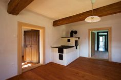 Image 12 of 15 from gallery of Country House In Tupadly / OV-A. Photograph by Tomas Soucek Living Area, Living Spaces, Cow Shed, Old Country Houses, Thing 1, Country Interior, Entry Hall, Wooden House, Two Bedroom