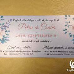 Tavaszi nyomtatott esküvői meghívó 2. #esküvői #meghívó #nyomtatott #esküvőimeghívó #tavasz #egyedi #wedding #weddinginvitation #spring #springinvitation #unique #flowers #flowerinvitation Spring Wedding Invitations, Winter Springs, Fall Winter