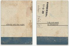 Collage artist Katrien de Blauwer's book: I Do Not Want To Disappear Silently Into The Night.