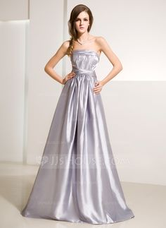 A-Line/Princess Strapless Floor-Length Charmeuse Evening Dress With Ruffle (017014215)