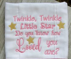 Twinkle Little Star embroidery design, 2 sizes, filled stitch, new baby embroidery, machine embroide Burp Cloth Diapers, Burp Cloths, Diy Machine Embroidery Projects, Baby Shower Messages, Baby Embroidery, Stitch Design, Little Star, Twinkle Twinkle, New Baby Products