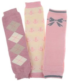Baby leg warmers set of 3 claire s argyle anchor bow crummy bunny