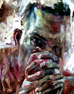 Artist: Jakub Kujawa {contemporary #expressionist male hands man face portrait profile head portrait abstraction texture painting} Thankful!!