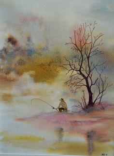 Watercolor Artwork, Watercolor Animals, Watercolor Landscape, Landscape Art, Small Paintings, Easy Paintings, Animal Paintings, Watercolor Techniques, Painting Techniques