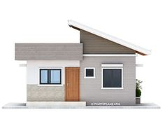 This Two Bedroom Small House Design has a total floor area of 61 square meters that can be built in a 134 square meters lot area. if you have a lot width of 10 meters and meters depth, this de… Simple Bungalow House Designs, Small Cottage Designs, Modern Bungalow House, Bungalow House Plans, Modern House Plans, Small House Plans, Two Bedroom House Design, House Roof Design, Small House Design