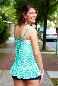 Lace Up Back Chevron Tank Top #May23Online $30.00