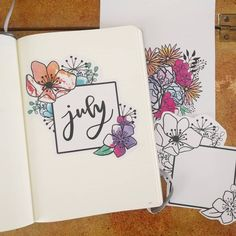 Flower Drawing Bullet journal monthly cover page, July cover page, flower drawings. Art Journal Pages, Bullet Journal Cover Ideas, Bullet Journal Month, Bullet Journal Spread, Bullet Journal Layout, Journal Covers, Bullet Journal Inspiration, Art Journals, Bullet Journals