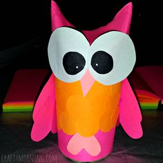 Great material to re-purpose & this is so cute! (you could always play with the color combos as well) DIY Owl Toilet Paper Roll Craft