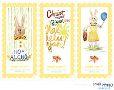 Easter tag / book mark Printables using some recent watercolor illustrations. Download at the link.