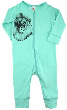 Fig Organic Cotton - Baby Unisex Infant Sleeper - Sea Foam Green - Lion head - 6-12 Months Fig Organic, $25