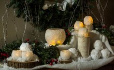 DIY Snowball Votives