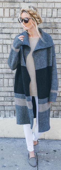 Just a pretty style | Latest fashion trends: Fall fashion | Color block coat, flats and breaded hair