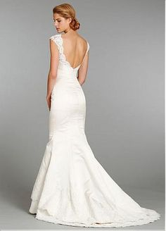 Buy discount Stunning Satin Mermaid/trumpet Illusion Neckline Wedding Dress With Lace Appliques at Dressilyme.com