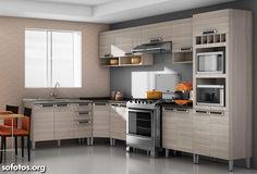 Fotos de Cozinhas Planejadas | Sofotos.org Kitchen Cupboard Doors, Kitchen Cabinets, Kitchen Interior, Kitchen Design, Kitchen Ideas, Kitchen Flooring, Entertainment Center, Kitchen And Bath, Dining Room