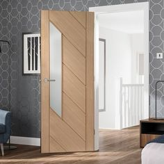 Monza Oak Door Glazed with Frosted Safety Glass