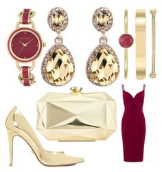 """""""Berry Gold"""" by smiyakiranhalal on Polyvore featuring Aloura London, Anne Klein, Dune and INC International Concepts"""