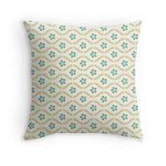'Teal Floral Pattern' Throw Pillow by Teal Throw Pillows, Decorative Throw Pillows, Room Decor, Beige, Floral, Unique, Pattern, Color, Accent Pillows