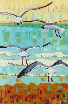 """Beach Gliders,"" by René Wiley by René Wiley Gallery Oil ~ 30 x 20"