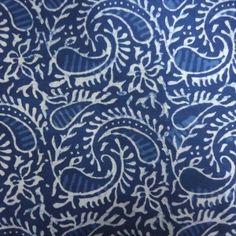 Block Printed Fabric Bagru Indigo Fabric Discharge Print Paisley SKU 2126 | Fabrics by Roopantaran