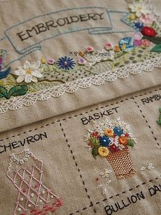 "If you are a student, ""Basic Embroidery Basic Stitch Book"", Embroidery Sampler, Hand Embroidery Stitches, Embroidery Patches, Hand Embroidery Designs, Ribbon Embroidery, Embroidery Art, Cross Stitch Embroidery, Embroidery For Beginners, Embroidery Techniques"