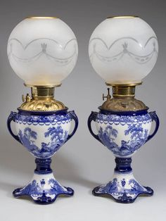 Doulton Staffordshire Pottery Blue 'Wattean' Oil Lamps with Etched Glass Shades Antique Oil Lamps, Vintage Lamps, Chandeliers, Hurricane Oil Lamps, Lamp Design, Design Design, Chair Design, Kerosene Lamp, Blue And White China