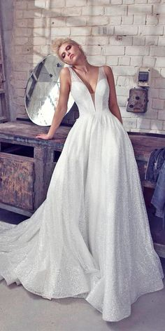 30 Revealing New Wedding Dresses 2019 ❤️ wedding dresses 2019 a line deep v neck sleeveless with straps pnina tornai ❤️ See more: http://www.weddingforward.com/wedding-dresses-2019/ #weddingforward #wedding #bride #weddingdresses2019 #bridalgown