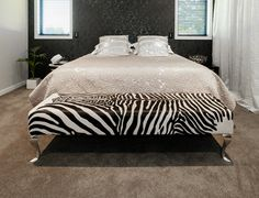 Zebra Print Cowhide Ottoman For End Of Bed Contemporary Ottomans And Cubes Leather