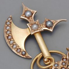 Victorian Gold Seed Pearl Hat Pin