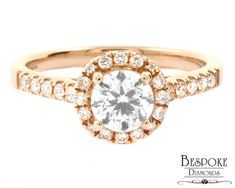 Set in rose gold, this beautiful ring features a round brilliant cut centre diamond. A scallop set halo of round cut diamonds surrounds the centre diamond. The band of the ring contains scallop set side stones. Halo Diamond Engagement Ring, Diamond Rings, Round Cut Diamond, Beautiful Rings, Centre, Diamonds, Stones, Rose Gold, Band