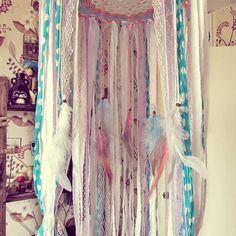 - Made To Order -   Bohemian baby crib #canopy  with plenty  of laces stripes and feathers, also goes like…