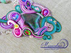 Purple necklace soutache necklace romantic necklace gypsy