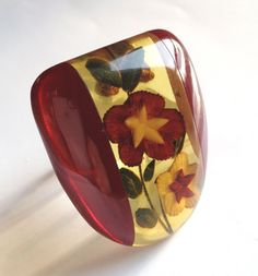 Bakelite Laminated, Reverse Carved & Painted Dress Clip from room4more on Ruby Lane