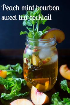 Fresh peaches, mint and bourbon all mixed together with sweet, delicious tea. This #cocktail is the perfect example of #summer.#cocktailrecipes #drinkrecipes #drinks #recipes