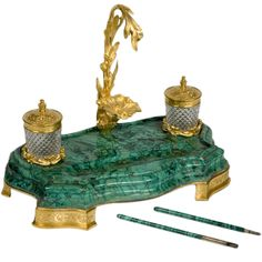Fine c. Russian gilt bronze and malachite ink stand having two diamond cut crystal ink bottleswith engraved ormolu tops including two rare carved malachite pens. The curved stepped malachite base mounted on four engaved gilt bronze feet. Glamour Decor, Art Nouveau, Desk Set, Green And Gold, Art Decor, Diamond Cuts, Carving, Bronze, Antique Furniture