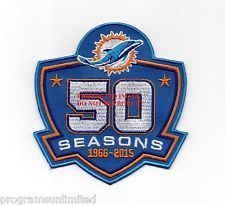 """MIAMI DOLPHINS """"50 SEASONS"""" HOME JERSEY EMBROIDERED PATCH NFL 50TH SUPER BOWL"""