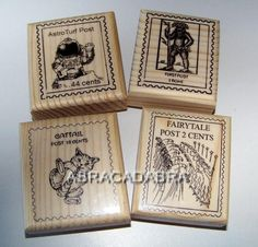 Postage Stamps=Postoids  - Lot of 4 New Mounted Rubber Stamps #bestofEtsy #gifts