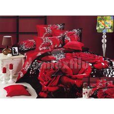Luxusné posteľné obliečky 100% bavlnený satém s červenými ružami Comforters, Blanket, Bed, Home, Creature Comforts, Quilts, Stream Bed, Ad Home, Blankets