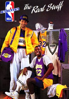 Authentic 90's Vlade Divac & Magic Johnson. This is such an awesome picture
