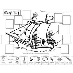 Fichier PDF téléchargeable En noir et blanc seulement 2 pages  Les élèves doivent observer le navire et trouver les parties illustrées au bas de la page sur celui-ci pour les coller au bon endroit (avec le mot). La deuxième page est plus facile, avec les dessins déjà placés au bon endroit, il leur suffit de découper et coller les images sur celles qui sont identiques. Pirate Birthday, Pirate Theme, Homemade Pirate Costumes, Summer Camp Themes, Pirate Activities, Bateau Pirate, Pirate Crafts, Pirate Adventure, Mermaid Coloring