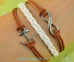 Hand woven bracelet with leather bracelet by Bestfriendgiftshop, $0.59