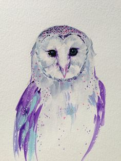 ORIGINAL Barn Owl painting in Purple Tones  Perfect by LimbTrim, $28.00