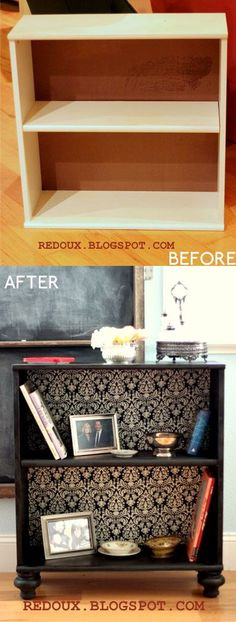 Add feet and wallpaper to a cheap bookcase – must do. would be nice to do in the FR on the toy shelves as the kids transition from a ton of toys and we weed out…. Add feet and wallpaper to a cheap bookcase – must do. would be nice to do in the FR … Refurbished Furniture, Repurposed Furniture, Furniture Makeover, Painted Furniture, Vintage Furniture, Cheap Furniture, Refurbished Bookcase, Homemade Furniture, Hallway Furniture