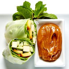Tofu and Peach Salad Rolls with Peanut Dipping Sauce Recipe #BiteMeMore