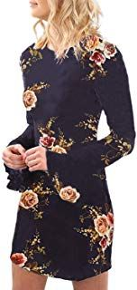 YOINS Women Dress Random Floral Print Perkins Collar Flared Sleeves Mini Dresses Pretty Dresses For Women, Summer Dresses For Women, Summer Dress Patterns, Mini Dress With Sleeves, Summer Diy, Casual Summer Dresses, Mini Dresses, Women's Fashion, Random