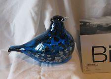 Iittala OIVA TOIKKA Art Glass Bird - Blue Saphire - Company Bird, numbered