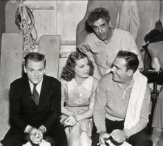 James Cagney, Ann Sheridan, and Pat O'Brien take a break on the set of Angels with Dirty Faces with Boris Karloff