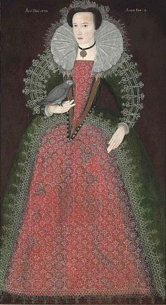 Portrait of a Lady holding a Parrot. By an unknown artist of the English School, 1592. Lord Poulett, Hinton St. George, Somerset