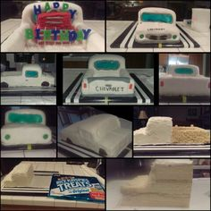 '68 Chevy Pickup Truck Cake!  This ended up being the perfect guy cake. I stacked and cut a sheet cake in the shape of the cab. I used a large sheet of rice krispies to mold the bed of the truck. Covered in fondant. I used melted and shaped jolly ranchers for the windows and lights (put those on without edible adhesive and store in a cool place or they will run). And more fondant and edible ink for the remaining details. A rice krispies tool box was added for the candles and added effect!