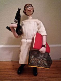 Vintage Roldan Lab Scientist Doll with Microscope and Caged Mice