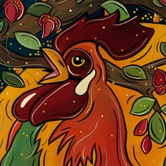 Proud Rooster with Ladybugs, Print 8.5x11, Original Fine Art by Artist Veronique Godbout
